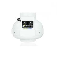 Prima Klima fläkt 400m3 125mm med inbyggd GSE digital fläktkontroller Temp/Minimum hastighet